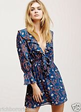 NEW Free People blue floral Ruffle Me Up Mini Dress elastic waist S