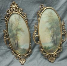 Antique vintage matched chic pair of signed watercolor paintings shabby frames