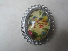 Vintage Silver Plated 2 Blue Tits Birds Brooch New in Gift Bag Christmas Gift