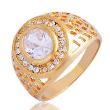 Gift wedding rings gold filled clear Cubic Zirconia vintage mens ring Size 10