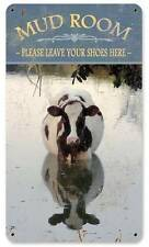 Mud Room Cow Country Living Vintage Distressed Metal Sign Wall Decor AIF002