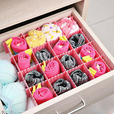 4x DIY Grid Drawer Wardrobe Closet Divider Storage Organizer Clapboard Pink