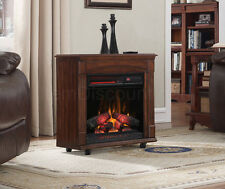 Electric Fireplace Mantel Infrared Heater Smokeless Rolling Large Room Remote