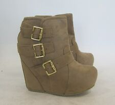 "new nude 5""high wedge heel  2""platform round toe sexy ankle boot  size 7"