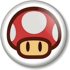 "Super Mario Red Mushroom 1"" Pin Button Badge Brothers Bros Hit Points 1-UP Life"
