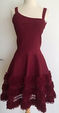 Alaia Burgundy Fit And Flare Stretch Sleeveless Dress Size S