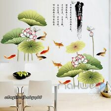 Lotus lilypad Fish Wall Stickers decals Removable Home Decor Bathroom Art Mural
