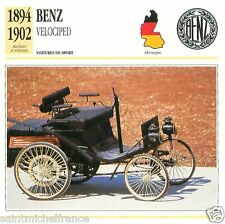 BENZ VELOCIPED 1894 1902 CAR VOITURE GERMANY DEUTSCHLAND CARD FICHE