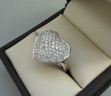 BOLD SPARKLING 14K WHITE GOLD 1.00 TCW DIAMOND PAVE HEART SHAPE RING - 4.8 GRAMS