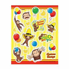 4 Curious George Birthday Party Treat Loot Favor Sticker Sheets