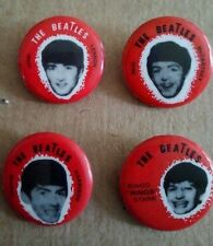 """THE BEATLES BUTTONS, PINS, SEL TAEB - 1964 PINBACKS MINT SET OF 4.   7/8"""" ROUND"""