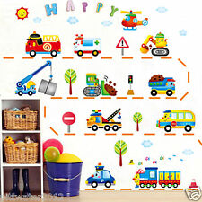 Car School Bus Truck Helicopter Bulldozer Train Removable Wall Sticker Boy Kids
