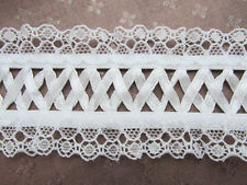 "3 yards Cross Ribbon French Design Elastic Floral 2"" Ruffle White Lace/Trim T142"