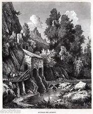 ARIANO IRPINO: un Mulino.Costumi. Appennino Campano.Avellino. Stampa Antica.1876