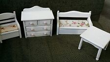 Doll House Furniture/White Wood Dresser 2 Benches that open, 1 Table numbered