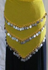 Yellow Belly Dance Hip Scarf Triangle Hips Scarf Skirt Costume 55-60 inch Hips