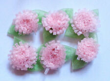 1 inch  sew on organza pink flowers appliques set of 6