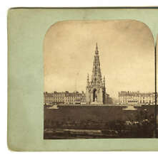 Stereoview Scott's Monument Edinburgh c1850s From Old Town Photograph England