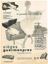 PUBLICITE ADVERTISING  1960   GUERMONPREZ   sièges canapé-lit