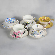 5 ENGLISH BONE CHINA TEACUPS & SAUCERS - LOT #3