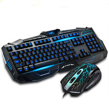 Blue Light USB Wired LED Illuminated Backlit Pro Gaming Keyboard Mouse set