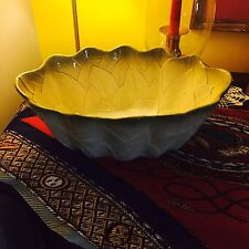 GORGEOUS LARGE ITALIAN MAJOLICA FRUIT BOWL OR CANDY DISH LIGHT TO DARK MINT