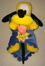 Disney Babies Pluto Plush With Sun Blue Mickey Head Embossed Blanket Lovey Toy