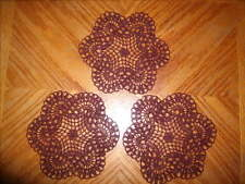 "Lot of 3 hand crochet 6"" BURGUNDY colored  doilies or coasters"