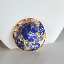 VINTAGE CLOISONNE ENAMEL BROOCH PIN CIRCULAR CUT THROUGH FLOWERS MAUVE PINK