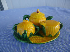vintage retro corn  cruet salt and pepper set tea set japan 1950's