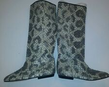 Carlos Falchi Grey Silver Leather Python Women's Snakeskin Boots Italy SZ 5.5-6
