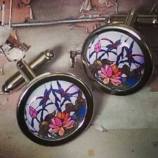 Unique! LIFE ON THE POND CUFFLINKS  chrome STAINED GLASS dragonfly stream REEDS