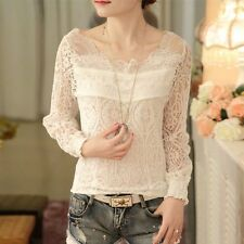 New Fashion Women Sexy White Hollow Lace  V Neck Long Sleeve Shirt Blouse Tops