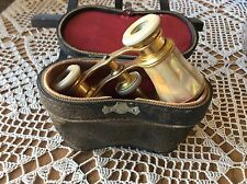 ANTIQUE LEMAIRE OPERA GLASSES BINOCULARS (In Case) MOTHER OF PEARL PARIS