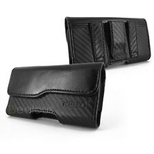 FOR APPLE IPHONE 4  4S BLACK LUXURIOUS LEATHER POUCH CASE WITH BELT CLIP