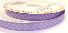 5m Bertie's Bows Lilac with White Polka Dot 9mm Grosgrain Ribbon Gift Wrap Craft