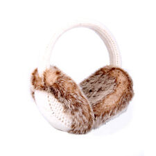 Aran Traditions Womans Ladies Winter Warm Knitted Style Cream White Earmuffs