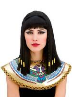 Ladies Long Queen Cleopatra Braids Gold Braided Hair Fancy Dress Egyptian Wig