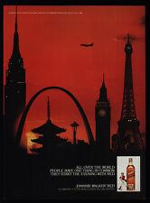 1982 JOHNNIE WALKER RED Scotch  EIFFEL TOWER - Big Ben - Space Needle VINTAGE AD