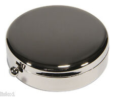 Kingsley KM-08 SILVER - PLATED ROUND TRAVEL PILL BOX