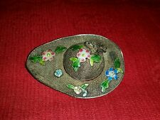 ANTIQUE CHINESE EXPORT ENAMEL FLOWERS VERMEIL FILIGREE HAT BROOCH SIGNED CHINA