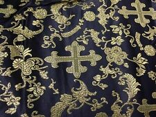 "BLACK/GOLD METALLIC  CHURCH BROCADE FABRIC 60"" WIDE 1 YARD"