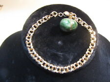 Vintage 14K Yellow Gold Double Wire Link Egg Charm Bracelet  Marked