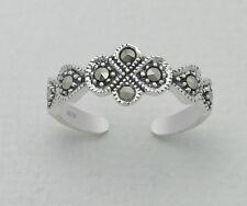925 Sterling Silver Marcasite Flower Leaf Design Toe Ring Adjustable Jewellery