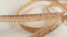 1.5cm- 1 meter beautiful rose gold sequenced  trim lace for, crafting, designing