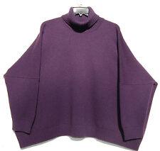 Eskandar DARK PURPLE Handloomed Heavy Weight Cashmere T/N Sweater O/S $2490