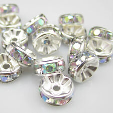 Charm NEW for DIY jewelry 20pcs 8MM Plated silver crystal spacer beads NOX17