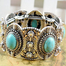 Chic Boho Womens Retro Vintage Natural Turquoise Tibetan Silver Bracelet Cuff HU