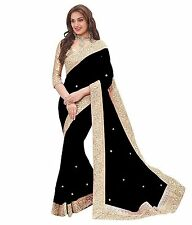 Sunsilk Designer Embellished Black Chiffon Saree With Golden Blouse