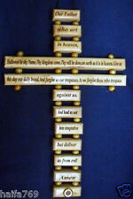 """""""OUR FATHER IN HEAVEN"""" prayer English version Cross Olive Wood Jerusalem"""